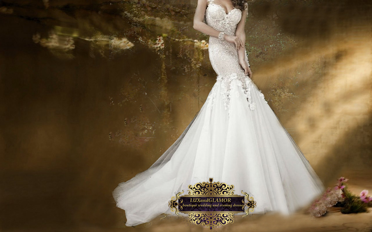 Wedding Dress Beaded French Lace Spa ti Straps Mermaid
